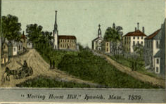 First Church on Meetinghouse Hill in Ipswich, MA: Period Scene from Postcard