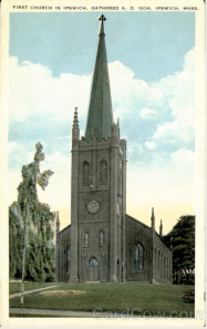 First Church in Ipswich: Postcard Scene of 5th Edifice